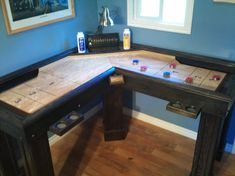 Corner shuffleboard table! not even sure how this works but it looks cool.