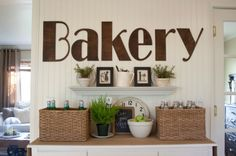 Bakery Sign - love this bold look in the kitchen (and tour this cottage)