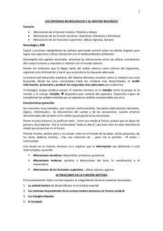 1  LOS SÍNTOMAS NEUROLOGICOS Y SU SENTIDO BIOLÓGICO  Sumario:   Alteraciones de la función motora: Parálisis y Ataxia   Alte...