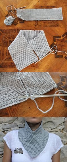 Non posso certo scrivere un'ov Crochet Scarves, Crochet Shawl, Crochet Yarn, Crochet Clothes, Easy Crochet, Crochet Stitches, Loom Knitting, Knitting Patterns, Crochet Patterns