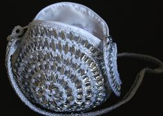 Upcycled purse / white bag  / pouch made with recycled  soda can tabs / soda can tabs bag.
