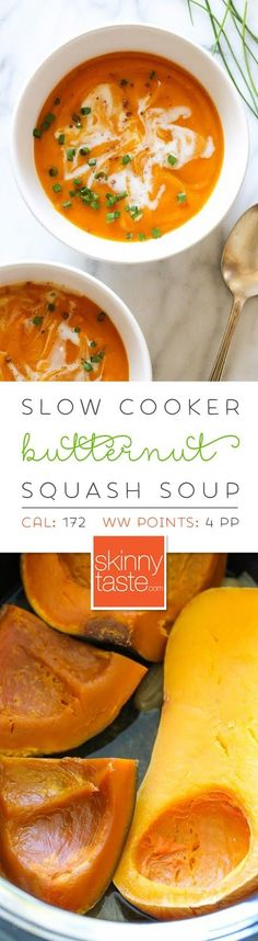 Slow Cooker Blissful Butternut Squash Soup – an EASY crock pot recipe with very little prep and only 6 ingredients!
