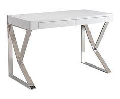 Mesa de oficina en madera y acero inoxidable Liam - 76x120 cm