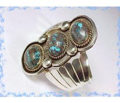 Early 1900's ~ Navajo American Indian Old Pawn ~ Turquoise Sterling Silver Cuff Bracelet ~ Over 4 Ozs ~ Kingman Turquoise - Vintage Jewelry