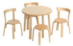 Kids Table and Chair Set - Svan Play with Me Toddler Table Set with 3 Chairs and Stool - 100% Wood (Natural)