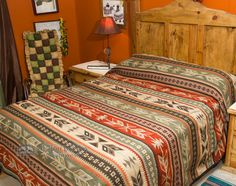 Give your rooms great southwest style with a plush southwest bed spread queen size -Santo Domingo - Mission Del Rey Southwest