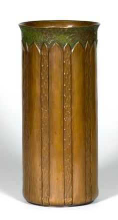 WALTER JENNINGS / ROYCROFT:  Rare hammered copper vase with Italian polychrome, East Aurora, NY, 1910-1915