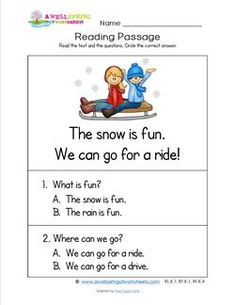 Here's a winter reading passage for you! Bundling up & heading outside kids are sure to make the fun happen. Have them read the passage & answer questions. Reading Comprehension Worksheets, Comprehension Strategies, Reading Passages, English Worksheets For Kids, English Lessons For Kids, English Activities, Kindergarten Reading, Kids Reading, Opposites Preschool