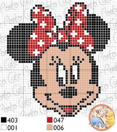 Minnie Mouse x-stitch Disney Cross Stitch Patterns, Cross Stitch For Kids, Cross Stitch Baby, Cross Stitch Alphabet, Cross Stitch Kits, Cross Stitch Charts, Cross Stitch Designs, Disney Stitch, Pixel Art Templates