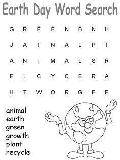 Earth Day Printable Crossword Puzzle  Pinned by PediaStaff
