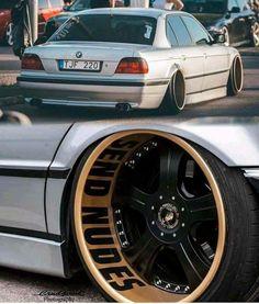 BMW E38 7 series silver deep dish slammed