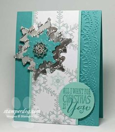 Fancy Christmas Card - Festive Flurry stamps and die, silver foil paper, pretty prints embossing folder and more.