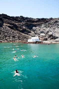 Swimming in the Hot Springs, Palia Kameni Volcano, Santorini So fun! Jumping off the boat into beautiful Greek water