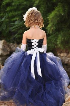 Navy Flower Girl Dress with Tulle por BellaBeanCouture en Etsy