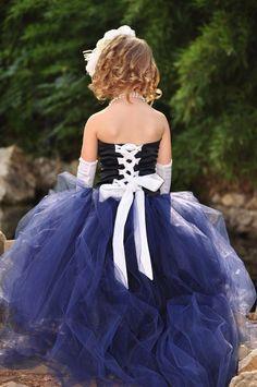 Navy Flower Girl Dress with Tulle por BellaBeanCouture en Etsy
