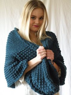 Knit Infinity Scarf Oversized Chunky Denim Blue by ReganEdesigns