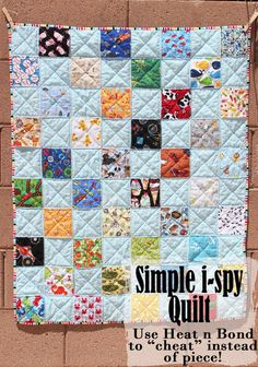 Simple i spy quilt - use Heat n Bond to cheat instead of piece