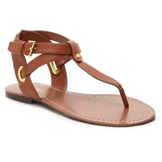 Lauren Ralph Lauren Adina Flat Sandal ($50) ❤ liked on Polyvore featuring shoes, sandals, summer shoes, summer sandals, flat sandals, long shoes and toe thongs