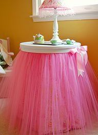 if you don't like the tulle, we can use another fabric to make a table out of a stool.