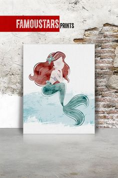 Mermaid The little mermaid Ariel print Disney print by FamouStars Book Cover, Ariel The Little Mermaid, Inspiration, Mermaid, Disney Art, Art, Digital Prints, Disney Print, Prints