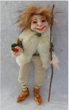 Wilhelmus Woodland Elf w/ Pipe OOAK Fairy Fairies Sculpture Art Doll Posable  #handmade