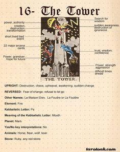 The Tower Tarot Card Meaning Major Arcana Cards, Tarot Major Arcana, The Tower Tarot Card, The Tower Tarot Meaning, Tarot Interpretation, Tarot Significado, Tarot Cards For Beginners, Tarot Card Spreads, Tarot Astrology