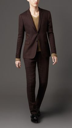 Chocolate Linen Suits for Men | Burberry Slim Fit Linen and Wool Suit in Brown for Men (dark brown ...