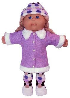Dress this wonderful Fur Trimmed Jacket up with tights or wear with jeans for a more casual look!  This Cabbage Patch doll clothes PDF pattern comes with free video tutorials which makes it super easy to sew....just watch and do!