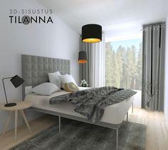 3D -stailaus ja -sisustussuunnittelu, paritalon ennakkomarkkinointia varten / harmaa moderni makuuhuone, valkovahattu tammilattia, musta ja kulta valaisimissa,  modern living room, / 3D-sisustus Tilanna, 3D-visualisointia ja sisustussuunnittelua ympäri Suomen