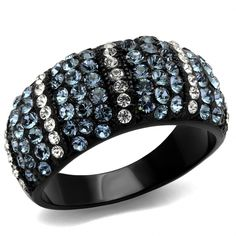 Black Ion Plated Stainless Steel Montana Blue and Clear Top Grade Crystal Women's Ring