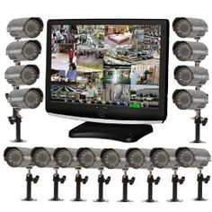 Clover Electronics LCD221616 22-Inch Wide Screen 16-Channel All-In-One Security System with 16 Cameras - Large (Black) #homesecurity #homecamera