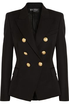 This Balmain double breasted Wool blazer for fall is BEAUTIFUL! Now to find the cheaper version….|NET-A-PORTER.COM