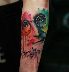 John Lennon Imagine Tattoo http://tattooideas247.com/john-lennon-imagine-tattoo/