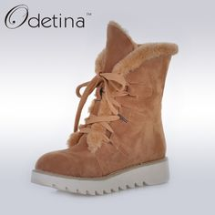23.10$  Buy here - http://ali5sr.shopchina.info/1/go.php?t=32760693541 - Odetina Brown Womens Suede Fur Lined Boots Non-slip 2016 Winter Women Ankle Boots Lace Up Platform Plush Snow Boots Large Size 23.10$ #shopstyle