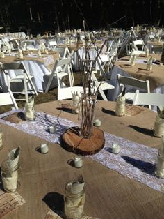 60 x 60 Rustic, Natural Burlap Square/Overlay Table Covers | Used at our #DIY Rustic/Barn Wedding