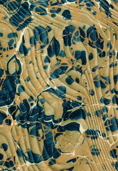 Vintage 19th c. marbled papers, Gold vein Overprinted over Spanish moiré on Turkish pattern