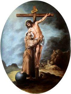 ARTE SACRO - Pintura Religiosa: San Francisco abrazando a Cristo