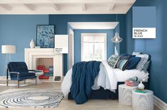 Bedroom Walls painted with PANTONE French Blue 18-4140 with Bright White 11-0601 on trim and ceiling.  It's now possible to paint your house with colours from the leading colour authority, through Fleetwood Paints