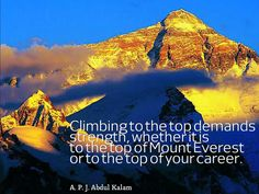 APJ Abdul Kalam, Climbing to the top demands strength whether it is to the top of Moount Everest or to the top of your career