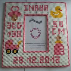 Birth date photo frame hama perler beads by jess-perles: