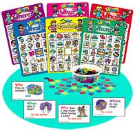 """Ask & Answer® """"Wh"""" Bingo  Laminated Who, What, When, Where and Why Bingo Games  by Thomas Webber - Grades PreK and Up"""