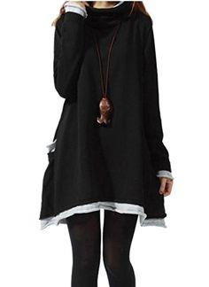 2e269da98dd9 Medeshe Womens Long Sleeved Cotton Knitted Sweater Pull Over Dress US 1012  Black ***