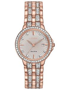 Citizen Eco-Drive Womens Watch - Swarovski Crystals - Rose Gold-Tone - Date