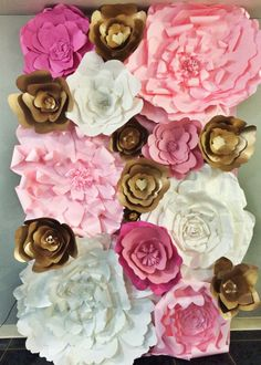 Giant paper flowers. Photo booth. Dark Pink, light pink, gold, white.