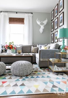 window treatments via Inspired By Charm Summer Home Tour 2016