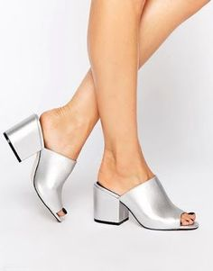Browse online for the newest ASOS HIGHLAND Mules styles. Shop easier with ASOS' multiple payments and return options (Ts&Cs apply). Metallic Shoes, Silver Shoes, Peep Toe Shoes, Slip On Shoes, Mules Shoes, Shoes Sandals, Pretty Shoes, Me Too Shoes, Fashion Shoes