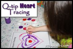 Q-tip Heart Tracing – Snowy Valentine from 3 Dinosaurs