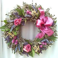 Image detail for -Herbal Pink Rose Wreath