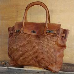 0574ced8dd2b Sac cabas cuir lavé tressé style vintage couleur camel ou noir