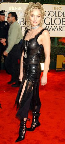 hahahahah... :D gross. Transparent thing (calling it a dress will be an insult to other dresses) and the shoes? ew. Sharon Stone at 2003 Golden Globe Awards ceremony. The nice hair can not save her. Epic fail.